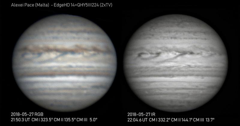 Jupiter, aufgenommen mit L-RGB Filtern und Astrnomik ProPlanet 742