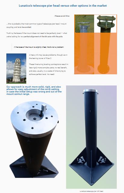 Lunatico's telescope pier head versus other options in the market